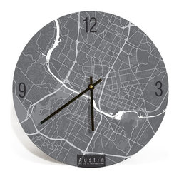 "ArtnWalls - AUSTIN MAP ART Wall Clock - Unique Contemporary Art Wall clock - 16"" Diameter - Abstract Austin TX, map art - Features the streets of the city of violet crown."