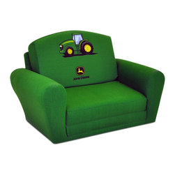 """Kidz World - Kidz World John Deere Sleepover Sofa in Green - This versatile """"Sleep/Sofa"""" is the """"boy's"""" or widely recognizable John Deere Green version of the item above. It features the image of the John Deere tractor and logo in the center of the backrest when in the upright or """"sofa"""" position."""
