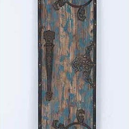 UMA - Antiquated Entry Wood Wall Plaque - This wall panel is finished in a distressed blue color and accented with vines, scrolls and an antique style door latch.