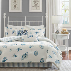 Harbor House - Harbor House Beach House Comforter Set - Bring a sense of the sea side into your home with this beautiful, casual Beach House bedding collection. The shell pattern is printed in shades of blue onto a white, cotton brushed twill. The comforter is fully reversible, reversing to a Yarn-Dyed stripe in blues and white. The comforter is oversized and machine washable for easy care. Comforter & Sham Face and Reverse: 100% cotton twill brushed and printed Filling: 300 gram/sqm polyester Bedskirt: 100% cotton twill brushed and printed as drop, poly cotton fabric platform
