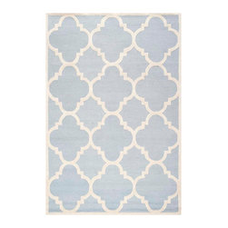 Safavieh - Cora Hand Tufted Rug, Light Blue / Ivory 6' X 9' - Construction Method: Hand Tufted. Country of Origin: India. Care Instructions: Vacuum Regularly To Prevent Dust And Crumbs From Settling Into The Roots Of The Fibers. Avoid Direct And Continuous Exposure To Sunlight. Use Rug Protectors Under The Legs Of Heavy Furniture To Avoid Flattening Piles. Do Not Pull Loose Ends; Clip Them With Scissors To Remove. Turn Carpet Occasionally To Equalize Wear. Remove Spills Immediately. Bring classic style to your bedroom, living room, or home office with a richly-dimensional Safavieh Cambridge Rug. Artfully hand-tufted, these plush wool area rugs are crafted with plush and loop textures to highlight timeless motifs updated for today's homes in fashion colors.