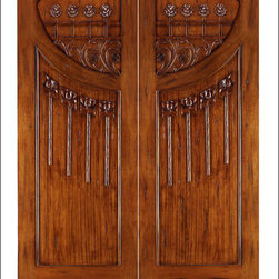Art Nouveau Entry Doors Model # AN-2010 - Art Nouveau is an art, style, and architecture recognized around the globe.  This door and collection will set you apart from the rest while giving your home a very unique look.  These doors have fine carvings, iron work and most have a operable glass panel to facilitated the cleaning of the iron panel.  Look at the entire collection to find the right fit!