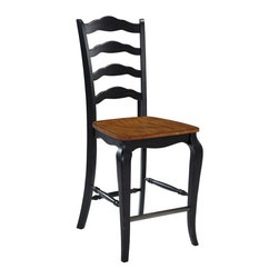 Home Styles - Home Styles The French Countryside Oak and Rubbed Black Counter Stool - 5519-88 - Shop for Stools from Hayneedle.com! Add European farmhouse style to your kitchen counter with the Home Styles The French Countryside Oak and Rubbed black Counter Stool. This counter-height stool features a 24-inch tall seat. It's made of rubberwood solids and engineered wood. The curved ladder back design and cabriole legs are hand-rubbed and distressed in antique black. The contoured seat and perfectly placed footrest are finished in warm distressed oak. About Home StylesHome Styles is a manufacturer and distributor of RTA (ready to assemble) furniture perfectly suited to today's lifestyles. Blending attractive design with modern functionality their furniture collections span many styles from timeless traditional to cutting-edge contemporary. The great difference between Home Styles and many other RTA furniture manufacturers is that Home Styles pieces feature rubberwood construction and quality hardware that stand up to years of use. When shopping for convenient durable items for the home look to Home Styles. You'll appreciate the value.