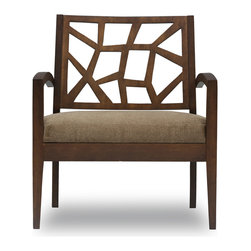 Bryght - Jenifer Lounge Chair - Take a seat on the Jenifer lounge chair. Made of eco-friendly hardwood in a warm cocoa stain, the Jenifer represents versatility with an avant-garde flair. Its modern and abstract asymmetrical patterned back and wide padded seating is sure to provide great comfort with a touch of oomph!