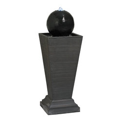 """Lamps Plus - Orbital Pedestal Floor Fountain with LED Light - Offer traditional elegance with a modern influence for your indoor or outdoor space with this standing pedestal floor fountain. The design is crafted from resin making it extremely lightweight and easy to position before filling with water. It comes in a faux stone finish with a horizontally ribbed texture for added interest and style. An included LED accent highlights the natural curve and gentle fall of water against the sphere. LED floor fountain. Resin construction. 120 volts. Includes 6 feet cord. Indoor/outdoor suitable. 30"""" high. 10 1/2"""" wide. 10 1/2"""" deep.  LED floor fountain.  Resin construction.  120 volts.  Includes 6 feet cord.  Indoor/outdoor suitable.  30"""" high.  10 1/2"""" wide.  10 1/2"""" deep."""