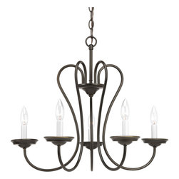 Progress Lighting - Progress Lighting P4667-20 5-Light Chandelier - No Shade with White Candle - Progress Lighting P4667-20 5-Light Chandelier - No Shade with White Candle Sleeves