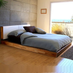 Mash Studios LAX Queen Platform Bed - Platform Bed by Mash Studios. Rest in style. This no frills bed is designed low to the ground and with a bare minimum of components. An additional wall-mounted headboard with a sliding aluminum panel doubles as a storage space to keep bedside miscellany out of sight.