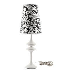 LexMod - Illusion Modern Table Lamp in White - Make your way to a sensory experience filled with cognitive delights. Illusion both stands out and blends with your surroundings in a surreptitious display of design and style. Crafted from a pearl black body made of iron, and a black and white floral damask patterned shade, Illusion will bring a sense of wonderment to your home.
