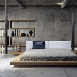 Worth Low Profile Platform Bed - The Worth Platform Bed is ready to bring the spirit of Japan in your master bedroom. The low profile design showcases the harmony of modern design, while its frame, made of top quality hardwoods, ensures long lasting durability. Sizes: Queen, California King and Eastern King. Finishes: Wenge/White, Wenge/Warm Gray, and Walnut/White Eco-leathers.