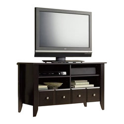 Sauder - Sauder Shoal Creek Espresso TV Stand - Sauder - TV Stands - 409795 - The perfect combination of country and modern style the Shoal Creek Collection from Sauder Woodworking is a welcome addition to any office or home.  Shoal Creek has an inviting casual appearance you're sure to love