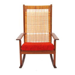 Dux - Consigned Dux Rocking Chair With Caned Back - 1960s teak rocker with unique caned back by Hans Olsen for Dux. Original orange tweed cushion. Branded on the inside of the front rail and retains its Danish Control sticker.