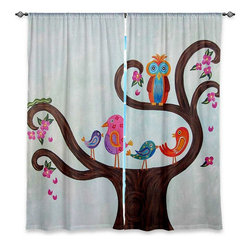 """DiaNoche Designs - Window Curtains Lined by Gwen Meades Tree Party III - Purchasing window curtains just got easier and better! Create a designer look to any of your living spaces with our decorative and unique """"Lined Window Curtains."""" Perfect for the living room, dining room or bedroom, these artistic curtains are an easy and inexpensive way to add color and style when decorating your home.  This is a woven poly material that filters outside light and creates a privacy barrier.  Each package includes two easy-to-hang, 3 inch diameter pole-pocket curtain panels.  The width listed is the total measurement of the two panels.  Curtain rod sold separately. Easy care, machine wash cold, tumble dry low, iron low if needed.  Printed in the USA."""