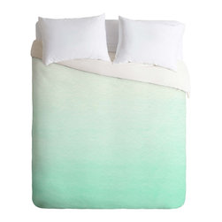 DENY Designs - DENY Designs Social Proper Mint Ombre Duvet Cover - Lightweight - Turn your basic, boring down comforter into the super stylish focal point of your bedroom. Our Lightweight Duvet is made from an ultra soft, lightweight woven polyester, ivory-colored top with a 100% polyester, ivory-colored bottom. They include a hidden zipper with interior corner ties to secure your comforter. It is comfy, fade-resistant, machine washable and custom printed for each and every customer. If you're looking for a heavier duvet option, be sure to check out our Luxe Duvets!