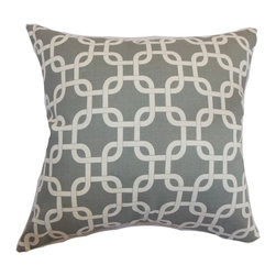 """The Pillow Collection - Qishn Geometric Pillow Summerland Grey 18"""" x 18"""" - Chic and understated, this geometric throw pillow comes with a cool hue. This throw pillow adds an elegant detail to your home. This square pillow features a grey and white color palette perfect for decor styles with a contemporary theme. Add this plush square pillow to your sofa, bed or seats for added comfort. Made from 100% soft cotton fabric, this 18"""" pillow is ideal for indoor use. Hidden zipper closure for easy cover removal.  Knife edge finish on all four sides.  Reversible pillow with the same fabric on the back side.  Spot cleaning suggested."""