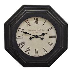 Three Hands Corporation - Octagonal Wall Clock - A classic design and durable wooden construction make this wall clock a refined timepiece for the living room. �� 15.5'' W x 25'' H Wood Requires one AA battery (included) Imported