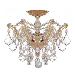 Crystorama - Crystorama Maria Theresa Flush Mount Ceiling Fixture in Polished Gold - Shown in picture: Maria Theresa Semi Flush Mount Draped in Clear Hand Cut Crystal; Classic Maria Theresa design styles with a modern twist. For centuries - Maria Theresa style of crystal chandeliers have been a sign of wealth - style - and class. In keeping with the time honored traditions of our European artisans - Crystorama's Maria Theres