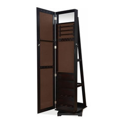 """ACMACM97068 - Jazi Espresso Finish Wood Rectangular Shaped Swivel Free Standing Cheval Mirror - Jazi espresso finish wood rectangular shaped swivel Free standing cheval mirror jewelry armoire cabinet. Measures 15"""" x 16"""" x 62""""H. Some assembly required."""