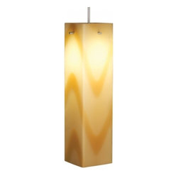 "Bruck Lighting - Houston Pendant Light w Vanilla Glass (Bronze No Canopy) - Finish: Bronze No Canopy. Pictured in Matte Chrome. Glass Color: Vanilla Glass. Mounting: No Canopy. 12V AC/DC Input. Accommodates 50W Max 12V Halogen GY6.35 Lamp (Not included). Suitable for dry location only. Dimmable . Overall Dimensions: 12"" H x 3.1"" DThe Houston collection is handcrafted by Murano glass masters featuring a contemporary square shape. The vivid colors offered include red, orange, vanilla and white. The uni-plug design allows the Houston pendant to be mounted on any of Bruck's track systems or ceiling canopy through the use of an appropriate adaptor. A Standard cable length of 59"" can be field-cut."