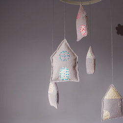 Felt Nursery Mobile, Pastel Houses By Pretty Plush - These hand-stitched and stuffed felt houses would be a sweet addition to a nursery or child's room.