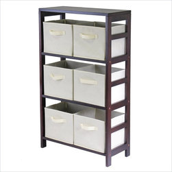 Winsome - Winsome Leo 3-Section Wide Storage Shelf with 6 Foldable Beige Fabric Baskets - Winsome - Storage Racks - 92851 - Winsome Leo 3-Section wide storage shelf in espresso. Its three sections hold the espresso large storage basket or two small storage baskets perfectly. Mix and match with the other espresso storage shelves both narrow and wide.
