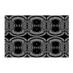 DiaNoche Designs - Area Rug by Susie Kunzelman - Black Drape - Finish off your bedroom or living space with a woven Area Rug with Chevron pattern  from DiaNoche Designs. The last true accent in your home decor that really ties the room together. Maybe its a subtle rug for your entry way, or a conversation piece in your living area, your floor art will continue to dazzle for many years. 1/4 thick. Each rug is machine loomed, washed and pre-shrunk, printed, then hemmed on the edges.   Spot treat with warm water or professionally clean. Dye Sublimation printing adheres the ink to the material for long life and durability
