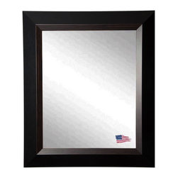 Rayne Mirrors - USA Made Black Grain Wall Mirror - This fabulous natural grain wood and clean black design will add personality and dimension to any room.Offer a stylish upgrade to your wall space with this stunning wall mirror.  Rayne's American Made standard of quality includes; metal reinforced frame corner  support, both vertical and horizontal hanging hardware installed and a manufacturers warranty.