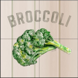 The Tile Mural Store (USA) - Tile Mural - LSBroccoli   - Kitchen Backsplash Ideas - This beautiful artwork by Lori Schory has been digitally reproduced for tiles and depicts broccoli.  This fruit and vegetable themed tile mural is perfect to add interest to your kitchen backsplash tile project.  Images of fruits and vegetables on tile are timeless and make an impressive kitchen backsplash idea. Wall tiles with pictures of fruits and vegetables add interest to your kitchen backsplash wall tile project.
