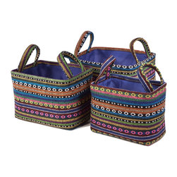 """Traders and Company - Colorful Nested Rectangle Fabric Baskets, Set of 3 - Lg = 12""""x9""""x9""""H - Fjord - Wake up any room with our colorful nested fabric hampers and baskets. Studry metal frame maintains the opening shape, and bright geometric patterns add a flash of color. Great for everyday storage around the home or in the kids room. Other patterns and shapes sold separately. Dimensions: L - 12""""L x 9""""W x 9""""H, M - 11""""L x 7""""W x 8""""H, S - 9.5""""L x 5.5""""W x 7.25""""H"""