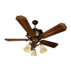 Craftmade - Toscana Peruvian Ceiling Fan with 56-Inch Custom Carved Chamberlain Walnut Blade - -The Toscana fan features bold scrollback enhanced by back-lit Antique Scavo body glass.  -Heavy-Duty, 3 Speed Reversible Motor  -6 and 12 Downrods is included   -TCS Remote Control Sold Separately,  TCS-PLUS Wall Control is Sold Separately   -Five blades included  -Blade pitch:14  -Motor size(MM):188x15  -Amps:0.66  -Watts:71  -RPM(Hi-Med-Lo):195-128-75  - Airflow (Cubic Ft/Min):5731 , Electricity US:71 Watts , Airflow Efficiency(Cubic Ft/Min/Watt):79  -3-13W CFL is included  -Glass finish:Antique Scavo, Glass dimensions:H:8.75 W:17.0  -This set contains Fan Model# TO52PR; Blade Model# B556C-CH10 Craftmade - K10767