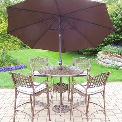 Oakland Living - 7-Pc Outdoor Round Bar set - Includes bar table with umbrella opening, four bar stools with cushions, 9 ft. tilt and crank umbrella and Stand. Fade, chip and crack resistant. Traditional lattice pattern. Metal hardware. Warranty: One year. Made from rust-free cast aluminum. Antique bronze hardened powder coat finish. Minimal assembly required. Table: 42 in. Dia. x 44 in. H (60 lbs.). Stool: 21.5 in. W x 22 in. D x 46 in. H (47 lbs.)This seven piece Bar Set will be a beautiful addition to your patio, balcony or outdoor entertainment area. Bar sets are perfect for any small space, or to accent a larger space. The Oakland elite collection combines old world charm and modern designs giving you a rich addition to any outdoor setting. Each piece is hand cast and finished for the highest quality possible.
