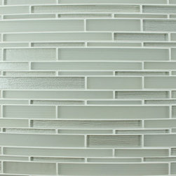 """Bahia Warm Off White Glass Strip Mosaic Tiles, 4"""" X 6"""" Sample - A mix of matte and high gloss off white textured strips. The textured backing has a crinkled effect giving them a one of a kind look. A great choice for a kitchen backsplash, accent strip, or perhaps a feature wall behind your bathroom vanity! White also comes in a square mosaic blend."""