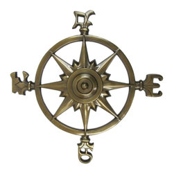 """Handcrafted Model Ships - Antique Brass Rose Compass 23"""" - Vintage Nautical Decor - This Antique Brass Compass Rose 23"""" is truly a great gift to any nautical enthusiast. Inspired by authentic compasses, this rose compass features a nautical star in the middle and of course the directions north, south, east and west. Hang this compass to add a nautical flair to any wall in your home."""