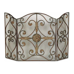Uttermost - Jerrica Metal Fireplace Screen - Dress up your fireplace with a screen that will knock your socks off. This exquisite screen is fashioned from hand-forged metal and wire mesh panels. It's lovely scroll and leaf design give it a marvelously elegant look.