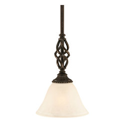 "Toltec - Toltec 80-DG-505 Dark Granite Finish Mini Pendant - Toltec 80-DG-505 Dark Granite Finish Mini Pendant with 7"" White Marble Glass Shade"