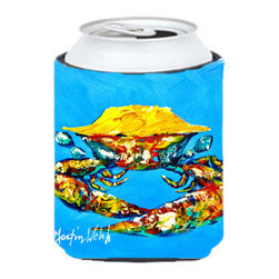 Caroline's Treasures - Crab Baby Blue Can or Bottle Hugger - Can Cooler - this collapsible koozie fits 12 ounce beverage. Cans or bottles. Permanently dyed and fade resistant. Will not crack or peel. Great to show off your breed. Match with one of the insulated coolers for a nice gift pack.