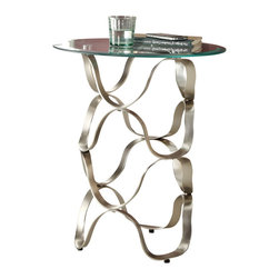 Homelegance - Homelegance Galaxy Round Glass Chairside Table with Wicker Base - Glass is perched atop each of the uniquely designed brushed chrome supports in the Galaxy collection. Each piece in this collection serves to accent contemporary home decors from ultra minimalist to the very whimsical.