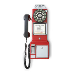 Crosley - 1950's Classic Pay Phone - Red - Dimensions: 7 x 9 x 18 inches