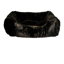 Loom and Mill - Loom and Mill DB0003 Dark Brown Fur Walled Pet Bed - Your pet deserves a little luxury and this dog bed  or cat bed is just the thing. The animal bed is constructed with the finest quality faux fur and Its overstuffed feel will help your pet to feel like they are sleeping on a cloud. The pillow insert of this pet bed is also removable for easy washing. Spot clean only.