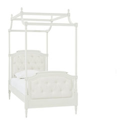 Blythe Tufted Canopy Bed - A canopy top can make a little girl feel like a princess. Sweeping arches, grooved molding and oval finials give our Blythe canopy its fairytale beauty.