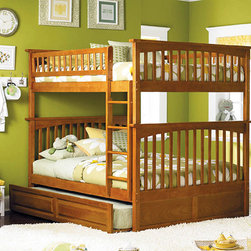 Caramel Latte Columbia Full over Full Bunk Bed with Raised Panel Trundle Bed - Three beds in one is what you'll get with this Atlantic Furniture Bunk Bed Set that includes the Caramel Latte Columbia Full over Full Bunk Bed with Raised Panel Trundle finished in a luscious Caramel Latte. If you have two siblings sharing a room or your child enjoys sleepovers then this bunk bed is a must for your child's bedroom. Either keep it as bunks or separate the two full size beds to get two free standing beds, one with a trundle bed below. Pull out the trundle when another guest is sharing the space. Your child will sleep soundly and safely on this bed for years because of its long lasting qualities such as it's hardwood body, made of eco-friendly Rubberwood that is admired for its strength and gorgeous look.