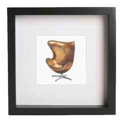 """Zach Mitchell Interiors - Arne Jacobsen Egg Chair Print - Inspired by some of the most iconic designer furnishings ever created, these prints of hand-drawn and rendered illustrations add a classic touch to any interior. Each print comes matted and framed in a black, gallery-style frame, measuring approximately 9"""" square."""