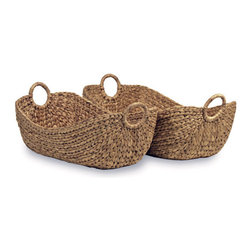 18KARAT - Grey Hyacinth Oval Basket Set - These handcrafted baskets are perfect for organization and storage. Made from water hyacinth, a fast-growing sustainable material.