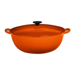 Le Creuset Enameled Cast Iron 7.5 Quart Bouillabaisse Pot Flame - When your crowd demands large portions and lots of 'em it might be time to pull the Le Creuset L2574-322 7.5 qt. Bouillabaisse - Flame out of your cupboard and start cooking. This oversized pot is not only good for preparing bouillabaisse but can also be used for other soups stews and casseroles. It's oven-safe to 450 degrees F and the handy carrying loops make it easy to carry from stove to table where you can show off your handiwork. Hefty enameled cast iron is a traditional favorite with amateur and professional cooks everywhere because the qualities of cast iron make it easy to cook foods right every time. This pot has a wide mouth and a small bottom with sloped sides. That means it can accommodate large quantities and you can use it on any average stove. The lid seals tight and captures heat within the pan on the stovetop or in the oven so natural flavors blend deliciously. The enamel surface resists wear and cleanup is simple. The smooth sand-colored interior releases food easily and no soaking or scrubbing is required. Not only that but the bright color of Le Creuset enameled cast iron cookware adds joy to your kitchen as well. You'll be plenty prepared to feed armies of hungry people when you have the Le Creuset bouillabaisse.Additional InformationDishwasher-safe but hand-washing recommended to maintain shineSuitable for all heat sources including inductionCast iron retains heat to keep foods hot when servingAfter removing from heat food continues to cookPhenolic knobs and handles are oven-safe to 375°F / 190°C; don't use with broilerCast Iron handles withstand any oven temperature and the broilerOnce hot requires only low-to-medium setting to maintain performanceVitreous enamel cooking surface is hygienic and impervious to flavors and odorsPerfect for marinating and storing foods (raw or cooked) in refrigerator or freezerInterior enamel is a smooth gloss finishBase side walls and lids of Le Creuset cookware are the same quality and thickness for even cookingHow to Use your CookwareRemove labels and wash before usingFollow stove manufacturer's guidelines for different types of cookwareLift - do not slide - across glass stove tops and set down gentlyAllow food to cool before placing into refrigerator or freezerUse low-to-medium stovetop settings; use high heat only for boiling and liquid reductionUse utensils made of silicone heat-resistant plastic or woodDo not place pots directly onto unprotected surfaces or countertopsCleaning & Care:Allow pans to cool before rinsing or washingDishwasher-safe but hand-washing with hot soapy water recommended; dry immediatelyConstant dishwashing may dull the enamel finish but won't harm the panFor cooked-on residues soak before washingFine to use nylon or soft abrasive scrubbers but do not use metallic pads or harsh abrasivesDry products thoroughly after washing; do not drain dry and do not store away while still dampCheck and retighten handles and knobs regularlyLe Creuset Enameled Cast Iron is extremely durable but avoid dropping or knocking against hard surfacesAbout Le Creuset of America Inc.Le Creuset is best known for its cast iron cookware which has been used for cooking utensils since the Middle Ages. The Le Creuset factory is at Fresnoy-Le-Grand in Northern France.In 1925 the foundry began producing cast iron by hand-casting molten iron in sand molds - still the most delicate stage of the production process. Even today after casting each mold is destroyed and the cookware is polished and sanded by hand then scrutinized for imperfections. Once declared good for enameling the items are sprayed with two separate coats of enamel and fired after each process at a temperature of 800 degrees F Celsius. The enamel then becomes extremely hard and durable making it almost completely resistant to damage during normal use. Because much of the finishing is done by hand each Le Creuset cast iron cookware piece is completely unique. Le Creuset is an excellent choice in cookware and one you'll appreciate for years to come.