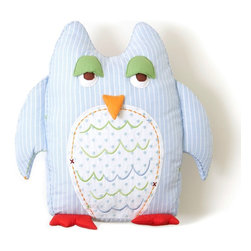 "The Little Acorn - Blue Owl Shaped Pillow- Large - Our Whimsical Owl shaped tooth-fairy pillow is Soft and huggable, with crafty embroidered details and 3-dimensional wings, feet, eyes and beak.15"" high, with pocket on the owls back for special treats or tooth-fairy rewards. A Best seller! Made in China"