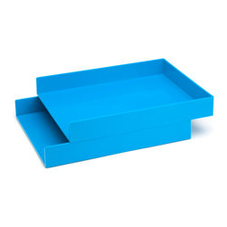 Poppin - Letter Trays, Set Of 2, Pool Blue - Get shelter from incoming clutter bombs with this set of two stackable boxes. Each measures 12 1/2 by 9 3/4 by 1 3/4 inches, is finished in your choice of eye-popping colors in a lacquer-like finish and coordinates with other accessories in the same line. Stack up some tidy style points.