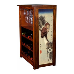 "Kelsey's Collection, Inc. - Hiroshige Wine Cabinet With Small Brown Owl On A Pine Branch - Pine Wine Cabinet  stores wine and glassware with famous artwork by Ukiyoye artist Aldo Hiroshige giclee-printed on canvas side panels. The art is giclee printed on canvas with three coats of UV inhibitor to protect against the sunlight and thereby extend the longevity of the art. The canvas is then glued onto panels and inserted into the frames. Kelsey's Wine Cabinet showcases and stores wine and glassware with solid radiata pine construction. Famous artwork is giclee-printed on canvas side panels which provide a unique decorating touch of art that enhances the product and reflects your home-decor style.  The frame, top, and racks are solid New Zealand radiata pine with a hand stained and hand rubbed rubbed medium reddish brown finish, that is then protected with a  lacquer coat and top coat.. Kelseys Collection is where ""Great Art & Function Meet""  This model is also referred to as the Jessica model. Dimensions are 33 by 22 by 12 deep.  Holds 15 wine bottles and full sized wine glasses.  Some assembly required."