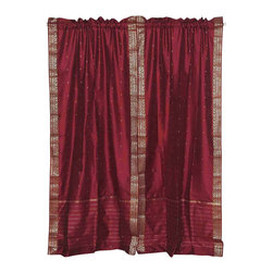 Indian Selections - Pair of Maroon Rod Pocket Sheer Sari Cafe Curtains, 43 X 36 In. - Size of each curtain: 43 Inches wide X 36 Inches drop .