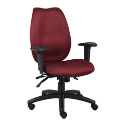"Boss Chairs - Boss Chairs Boss Burgundy High Back Task Chair - High-back styling upholstered with commercial grade fabric. Sculptured waterfall seat made from molded foam that contours to the shape of your body. Ratchet back height adjustment allows perfect positioning of the back cushion for lumbar support. Adjustable height armrests with soft polyurethane. Width adjustable armrest allows the user to move the armrests to match shoulder width. Large 27"" nylon base for greater stability. Hooded double wheel casters. Pneumatic gas lift seat height adjustment. Adjustable tilt tension control. Seat tilt lock allows the seat to lock throughout the tilt range. Back angle lock allows the back to lock throughout the angle range for perfect back support."