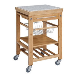 """Linon - Kitchen Cart with Granite Top - Features: -Gorgeous inlaid granite top.-Large utensil drawer with towel-rack handle.-Wire basket for easy access to frequently used items.-Slatted shelf holds up to four wine bottles.-Solid shelf for additional storage.-Heavy-duty casters for easy mobility.-Attractive way to add extra work space to your kitchen.-Eco-friendly bamboo frame construction.-Product Type: Kitchen Cart.-Base Finish: Bamboo.-Counter Finish: Granite.-Hardware Finish: Gold/silver.-Distressed: No.-Powder Coated Finish: No.-Gloss Finish: No.-Base Material: Solid Bamboo.-Counter Material: Granite.-Hardware Material: Metal.-Solid Wood Construction: No.-Number of Items Included: 1.-Stain Resistant: No.-Warp Resistant: No.-Exterior Shelves: Yes -Number of Exterior Shelves: 1.-Adjustable Exterior Shelving: No..-Drawers Included: Yes -Number of Drawers: 1.-Push Through Drawer: No.-Dovetail Joints: No.-Drawer Dividers: No.-Drawer Handle Design: Pull handle.-Silverware Tray : No..-Cabinets Included: No.-Number of Baskets: 1.-Towel Rack: No.-Pot Rack: No.-Spice Rack: No.-Cutting Board: Yes.-Drop Leaf: No.-Drain Groove: No.-Trash Bin Compartment: No.-Stools Included: No.-Casters: Yes -Locking Casters: Yes.-Removable Casters: No..-Wine Rack: Yes -Wine Rack Capacity: 4.-Removable Wine Rack: No..-Stemware Rack: No.-Cart Handles: No.-Shelf Weight Capacity: 15 lbs.-Swatch Available: No.-Commercial Use: No.-Recycled Content: No.-Eco-Friendly: No.-Product Care: Clean with mild detergent.-Country of Manufacture: China.Specifications: -ISTA 3A Certified: Yes.Dimensions: -Overall Height - Top to Bottom: 36.6"""".-Overall Width - Side to Side: 22"""".-Overall Depth - Front to Back: 22"""".-Width Without Side Attachments: 22"""".-Countertop Thickness: 0.5"""".-Countertop Width - Side to Side: 18"""".-Countertop Depth - Front to Back: 18"""".-Shelving: Yes.-Drawer: Yes.-Overall Product Weight: 68.34 lbs.Assembly: -Assembly Required: Yes.-Tools Needed: Phillips and/or slot head screwdriver.-Additiona"""