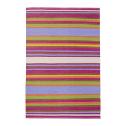 KOKO - Folk Area Rug, Multicolor Stripe, 4' x 6' - With its sophisticated colors and striking good looks, you'd never suspect this area rug washes clean with a garden hose! Hand-loomed from a blend of vinyl and polyester and fully reversible, it's perfect for the patio, porch or family room — anywhere you need a touch of elegance without the upkeep.